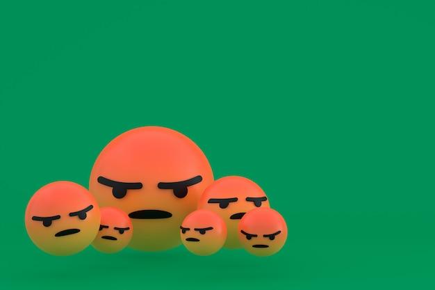 Злой значок facebook реакции смайликов 3d визуализации, символ шара в социальных сетях на зеленом фоне