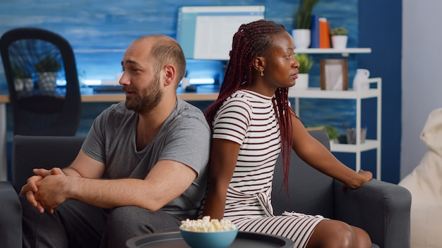 Angry interracial couple having relationship problems