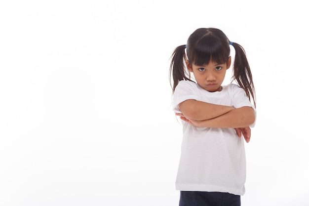 Angry little girl on a white wall