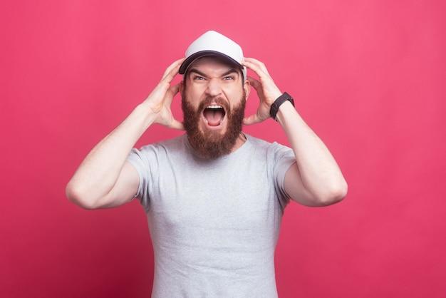 Angry man screaming