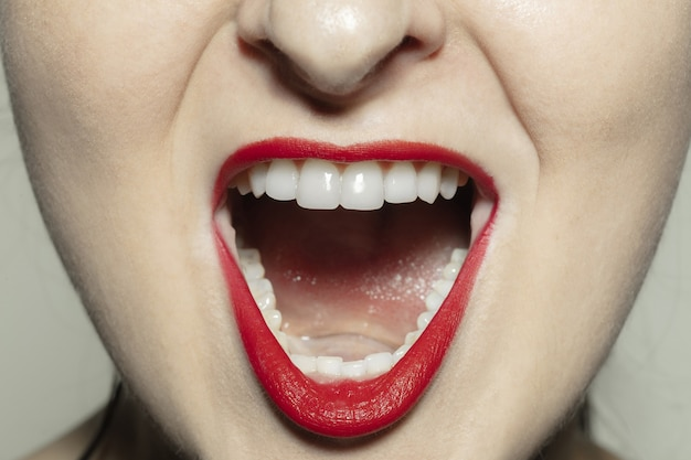 Angry screaming. close-up shoot of female mouth with bright red gloss lips make-up and well kept cheeks skin. Free Photo