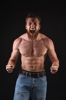Angry shirtless man