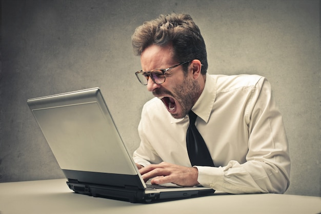 Angry shouting businessman
