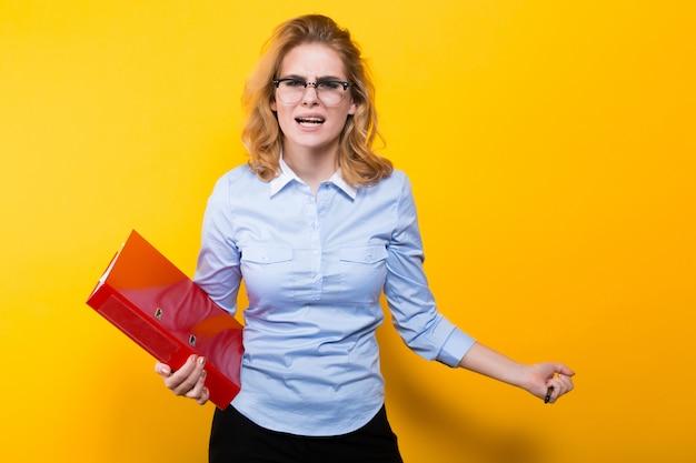 Angry woman with big folder