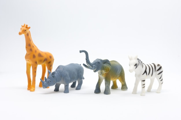 Animal african model isolated on white background, animal toys plastic