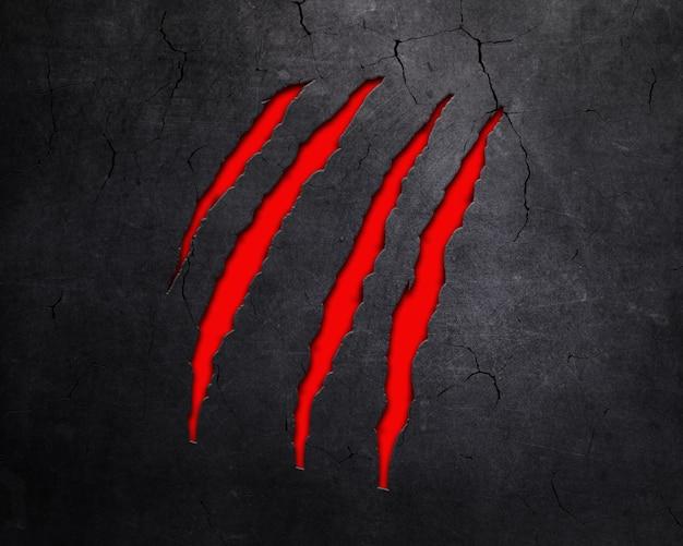 赤い下敷きと金属の背景の動物の爪マークのデザイン