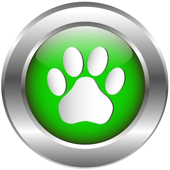 Animal footprint glossy icon on white background