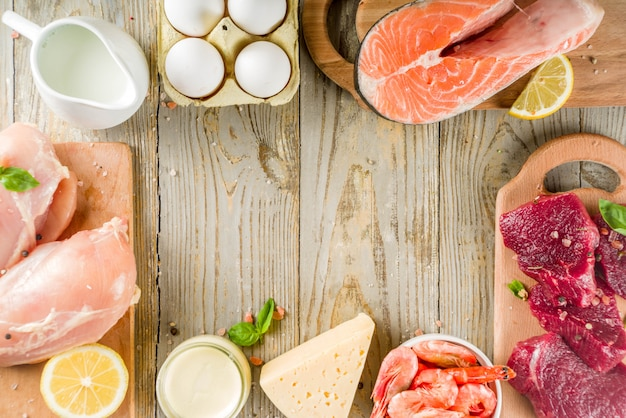 Animal protein sources, meat, eggs, seafood, dairy products