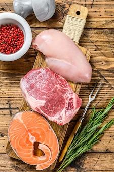 動物性タンパク質は肉、魚、家禽を供給します