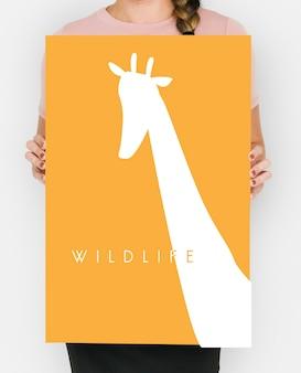 Parola di animali della fauna selvatica con grafica di giraffa