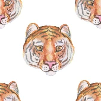 Animals cartoon cute muzzles scandinavian style. hand-drawn illustration of children. watercolor set. seamless pattern. print textile realism
