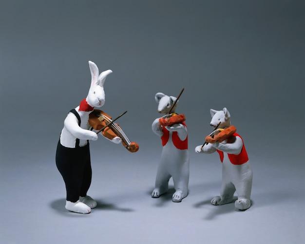 Animals rabbit and music