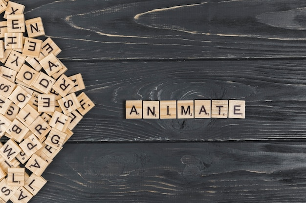 Animate word on wooden background