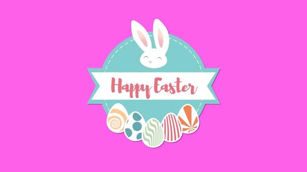 Анимированный крупный план счастливой пасхи текст и кролик на розовом фоне. роскошный и элегантный шаблон динамичного стиля для праздника
