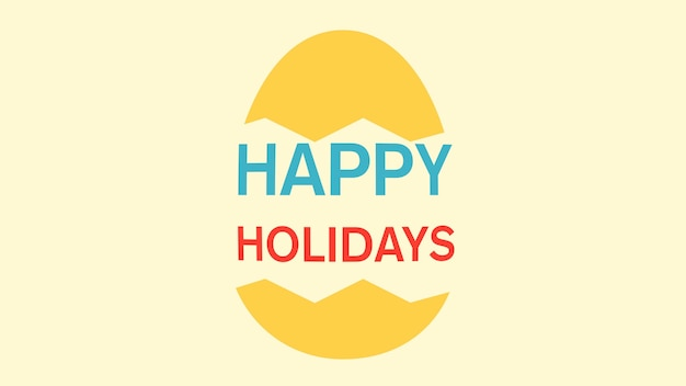 Animated closeup happy easter text and egg on yellow background. luxury and elegant dynamic style template for holiday