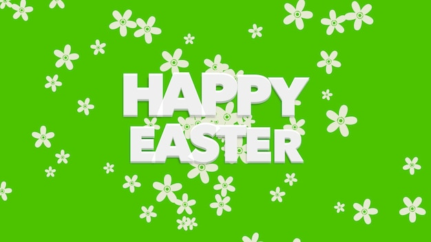 Animated closeup happy easter text on green background. luxury and elegant dynamic style template for holiday
