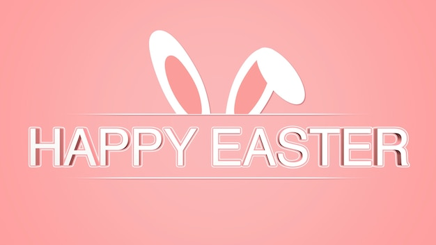 Animated closeup happy easter text and rabbit on red background. luxury and elegant dynamic style template for holiday