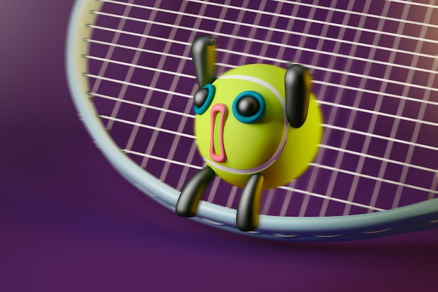 Animated tennis ball on top of a tennis racket with blurred background. 3d render