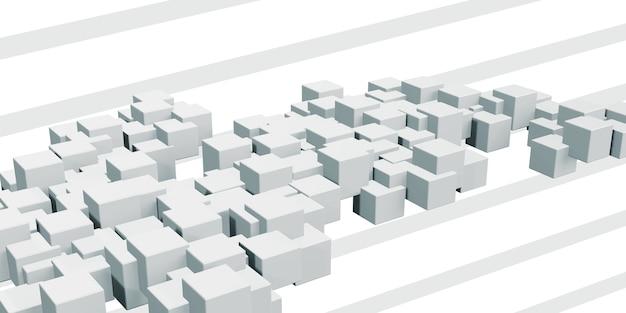 アニメーション化された白い四角い立方体幾何学的な抽象ランダムなグラデーションの列