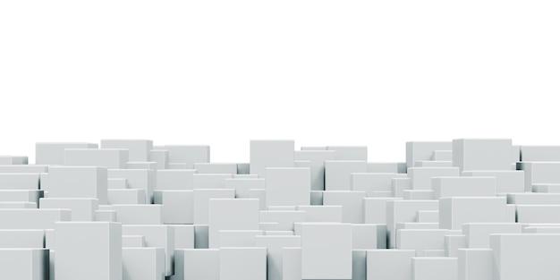 アニメーション化された白い正方形の立方体ランダムなボックスまたは列を持つグラデーションの幾何学的な背景の概念