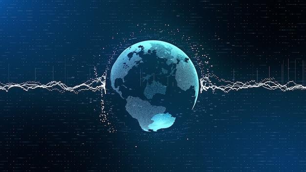 Анимационные информационные блоки в ярких полосах удерживают голубую планету земля глобус