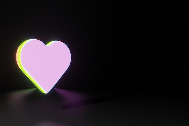 소셜 미디어 3d 렌더링을위한 빛나는 심장 모양 발렌타인 데이의 애니메이션