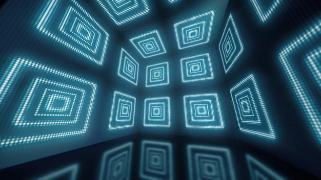 Анимация вращения волшебной и красочной коробки с блестящими и мерцающими точками на стенах. 3d иллюстрация