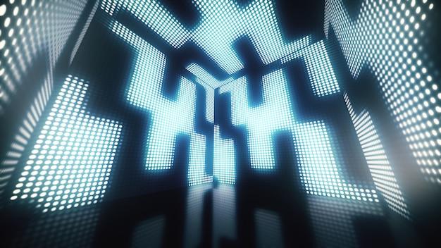 壁にキラキラとちらつきのドットがある、回転の魔法のようなカラフルなボックスのアニメーション。 3dイラスト
