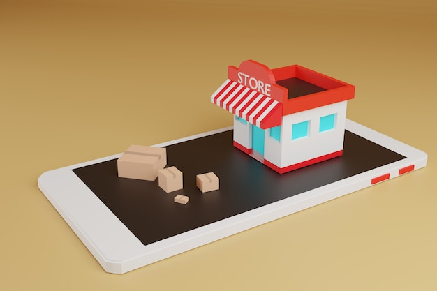 Animation online shopping e-commerce, shop and box on smartphone,3d rendering