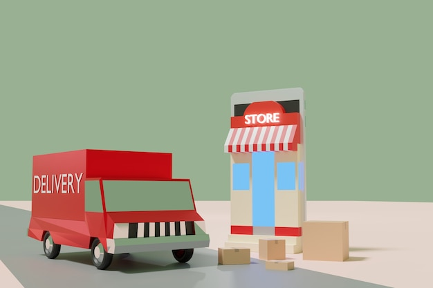 스마트 폰, 3d 렌더링에 애니메이션 온라인 쇼핑 전자 상거래, 상점, 상자 및 배달 트럭