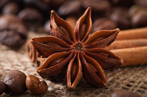 Anise, cinnamon and coffee beans on old wooden background