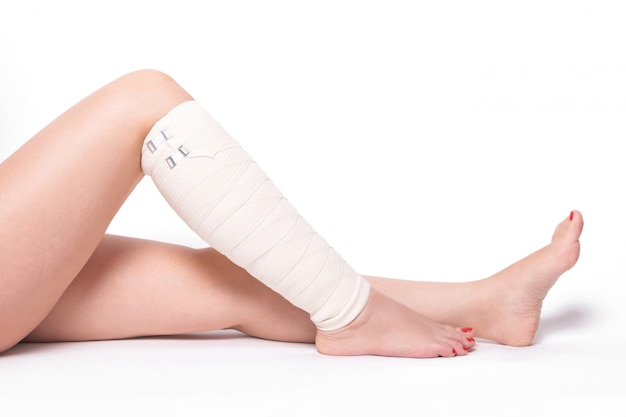 Ankle woman dragged elastic bandage