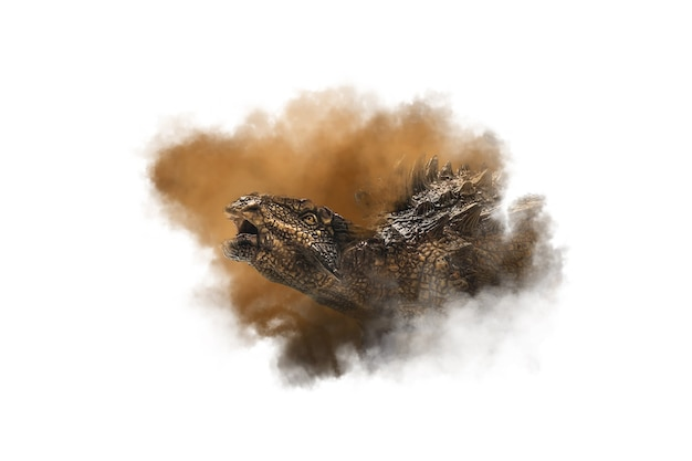 煙の背景にアンキロサウルス恐竜