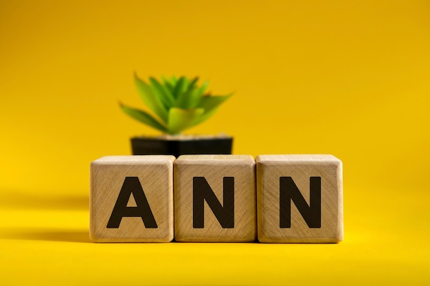 Ann text on wooden cubes on a surface and a black pot with a flower behind
