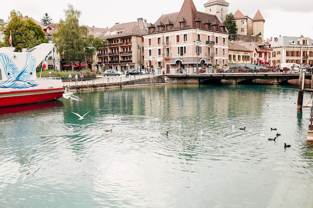 Annecy lake water channel bay with ducks view to marina from annecy city. high quality photo