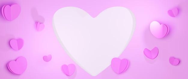 행복한 여자, 어머니 아버지, 달콤한 마음을위한 분홍색 배경에 기념일 이벤트 축하 개념,
