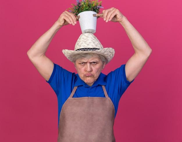 頭上に植木鉢を保持しているガーデニング帽子をかぶってイライラする年配の女性の庭師