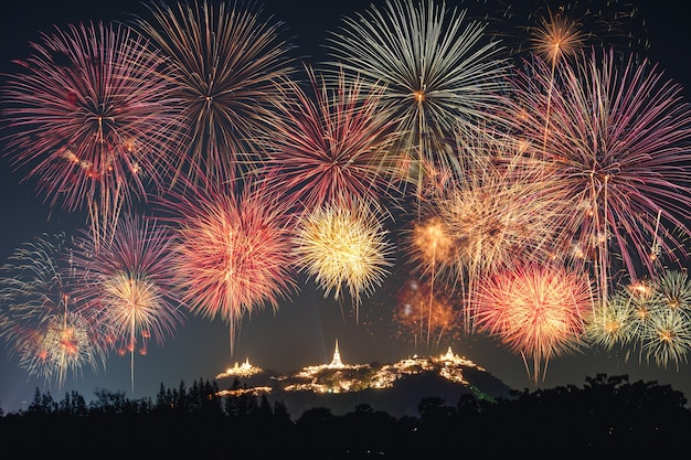 The annual festival fireworks celebration on golden pagoda of khao wang, phra nakhon khiri at phetchaburi