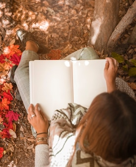 Anonymous woman reading in autumn forest