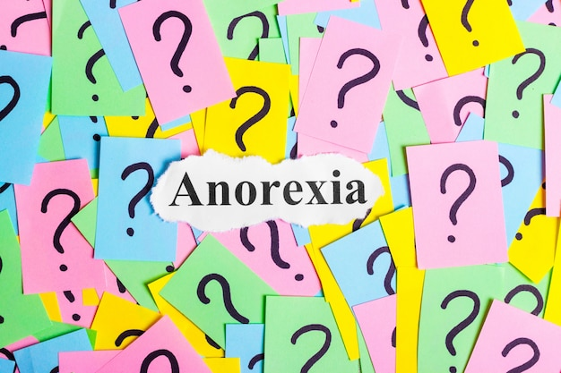Anorexia syndrome text on colorful sticky notes