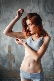 Anorexic sick woman, weight loss, anorexia. fat or calories burning concept, medical illness