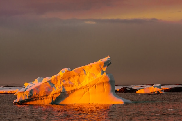 Antarctic glacier with cavities. beautiful winter background.