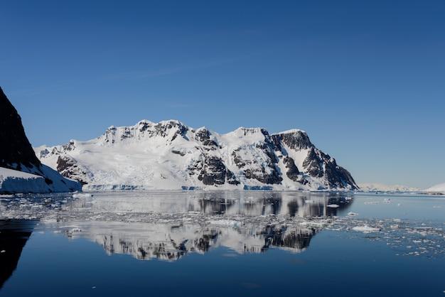 山と反射の南極の風景