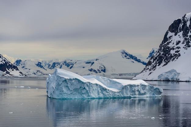 氷山と反射の南極海