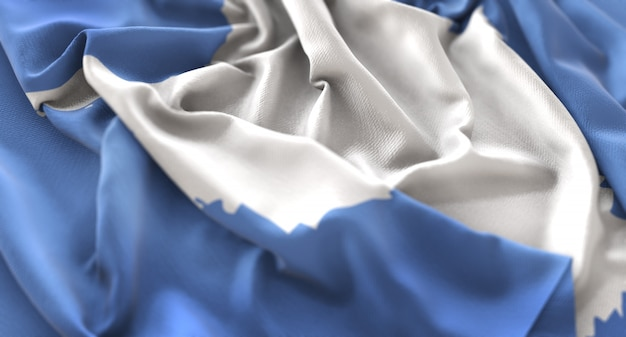 Antarctica flag ruffled beautifully waving macro close-up shot