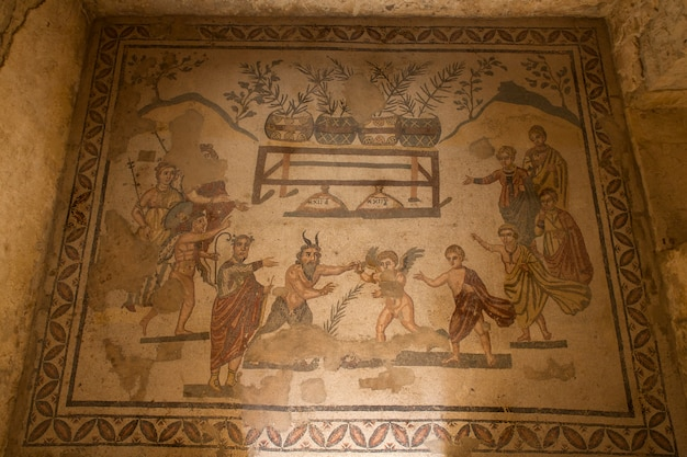 Antechamber of a cubiculum decorated with a contest between pan and eros. villa romana del casale, roman villa designated as a unesco world heritage site