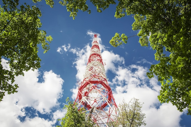 Antenna tower radio signals in the air