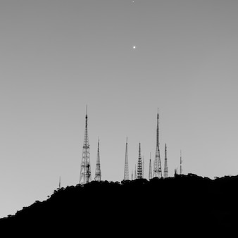 Antennas on the sumare hill in rio de janeiro brazil.