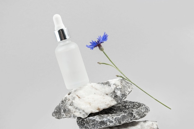 Anti-aging collagen, facial serum in transparent glass bottle with pipette on pile of stones and blue cornflower flower against grey background.