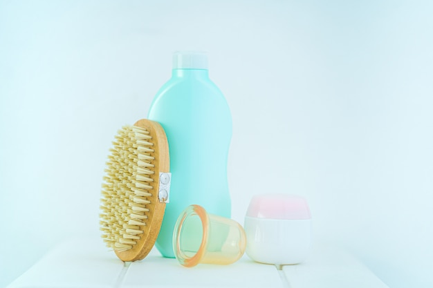 Anti-cellulite products for the prevention and treatment of cellulite and for massage body with a dry wooden brush and vacuum cans